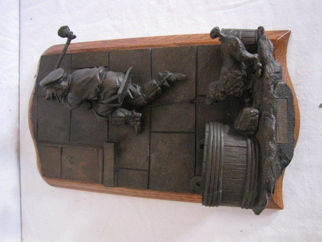 "34: Bronze sculpture match safe, 11""x6"", w/ label"