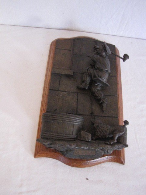 "34: Bronze sculpture match safe, 11""x6"", w/ label - 2"