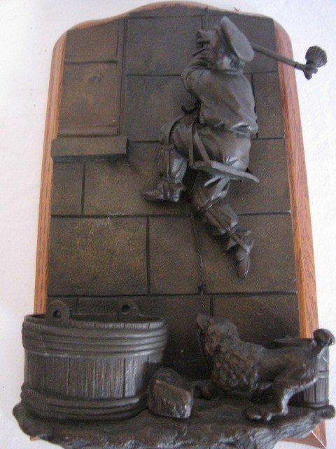 "34: Bronze sculpture match safe, 11""x6"", w/ label - 3"