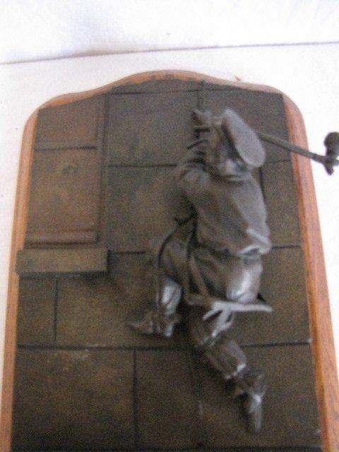 "34: Bronze sculpture match safe, 11""x6"", w/ label - 4"