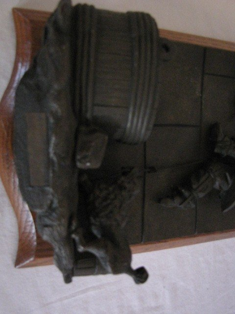 "34: Bronze sculpture match safe, 11""x6"", w/ label - 5"