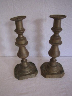 "Pair Brass Candle Sticks 10"" Tall"
