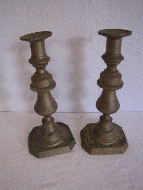"""37: Pair brass candle sticks 10"""" tall"""