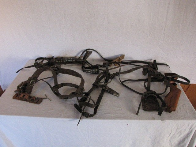 87: Assortment of leather horse reins, holster
