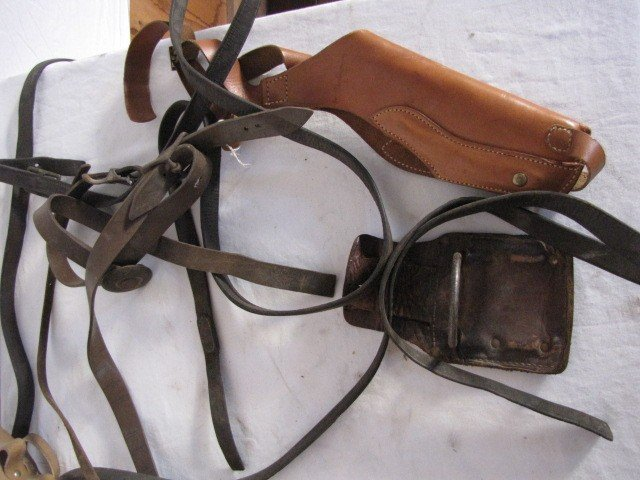 87: Assortment of leather horse reins, holster - 2