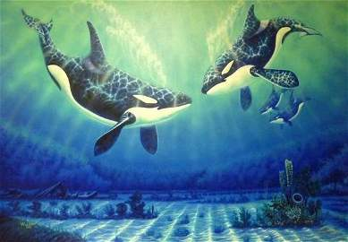 "100: 1988 ROBERT WYLAND ""JOY OF THE SEA"" OIL ON CANVAS"