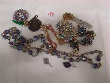 199: LOT OF VINTAGE RHINESTONE COSTUME JEWELRY
