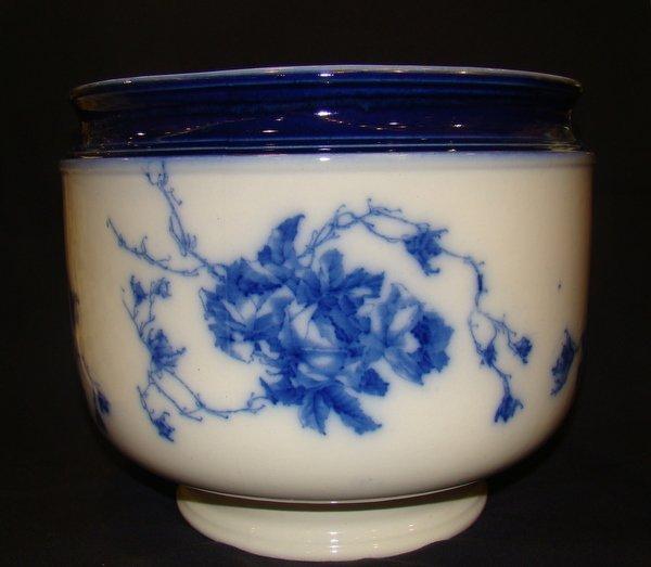 1: ANTIQUE ROYAL DOULTON FLOW BLUE JARDINERE