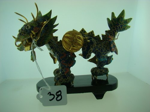 38: FABULOUS CLOISONNE & ENAMELED DRAGON