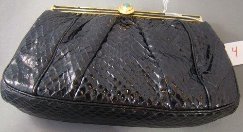 4: JUDITH LEIBER BLACK ALLIGATOR BAG