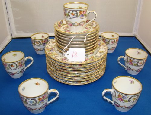 18: SERVICE FOR EIGHT, HAND PAINTED SCHUMAN CAKE SET