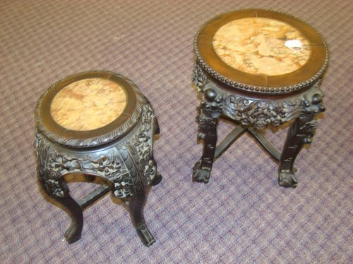 19: TWO ANTIQUE ORIENTAL GARDEN SEATS