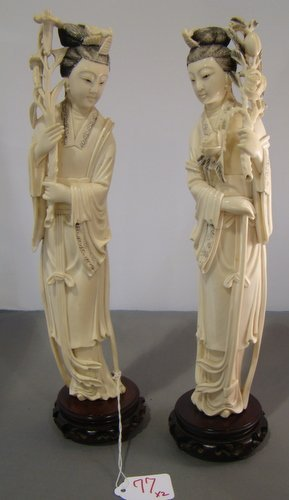 77: PAIR OF ANTIQUE LARGE IVORY QUAN YIN
