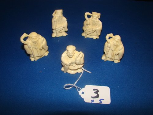 3: GROUPING OF FIVE ANTIQUE IVORY NETSUKES