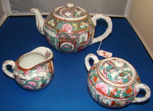 5: VINTAGE THREE PIECE FAMILLE ROSE ORIENTAL TEA SET