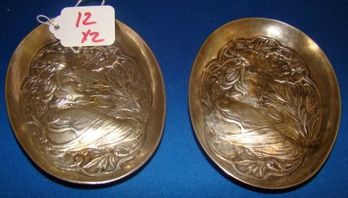 12: PAIR OF HEAVY STERLING ART NOVEAU TRAYS