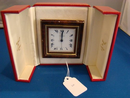 20: VINTAGE CARTIER TRAVELING CLOCK  IN BOX