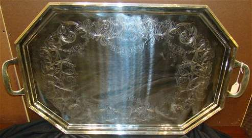 52: ANTIQUE REED & BARTON STERLING SERVING TRAY