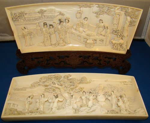 100: INCREDIBLE PAIR OF 19TH CENTURY IVORY PLAQUES