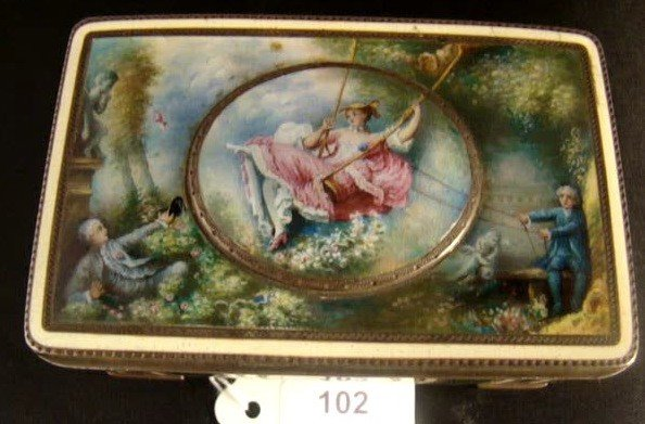 102: VINTAGE FRENCH ENAMELED OVER STERLING BOX