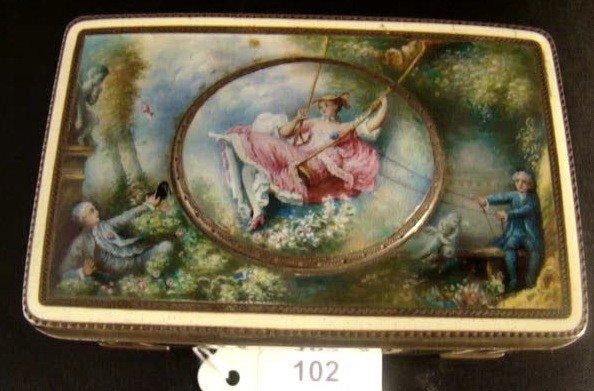 102: VINTAGE FRENCH ENAMELED OVER STERLING BOX