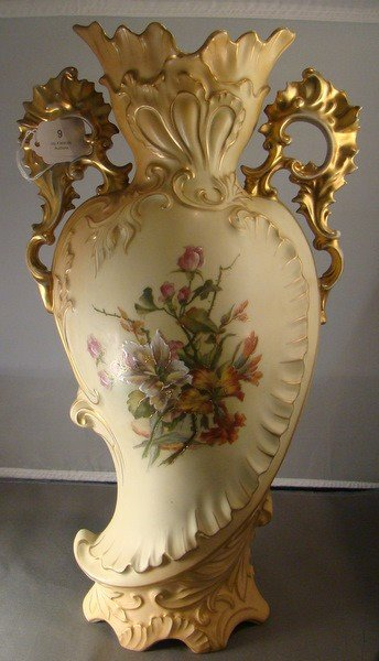 9: ANTIQUE HAND PAINTED TALL AUSTRIAN VASE