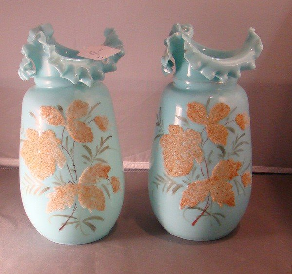1: PAIR OF CORALENE DECORATED CONTINENTAL VASES