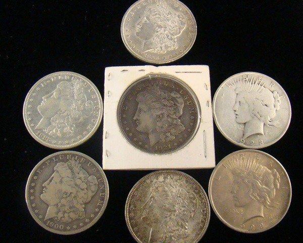 18: LOT OF(7)  5 MORGAN & 2 PEACE SILVER  DOLLARS