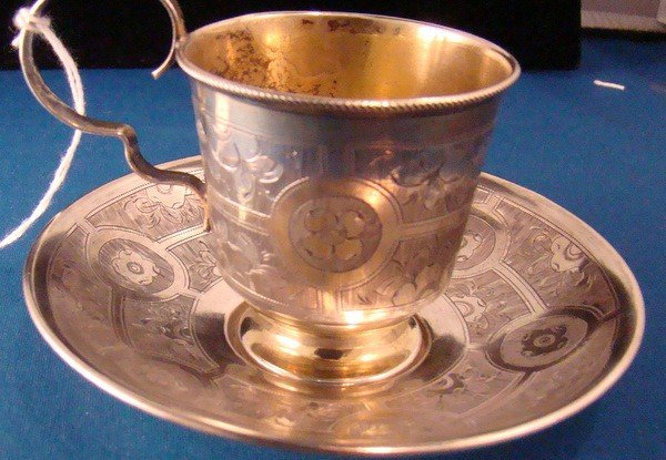 39: UNIQUE RUSSIAN STERLING SILVER CUP AND SAUCER