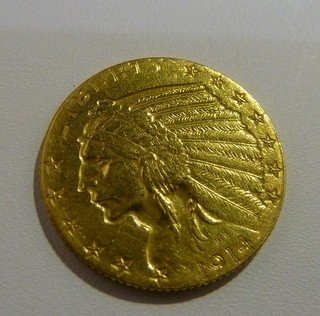 23: 1914 U.S $5 INDIAN GOLD PIECE FINE CONDITION