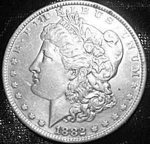 8: 1882 CARSON CITY MORGAN SILVER DOLLAR vg condition