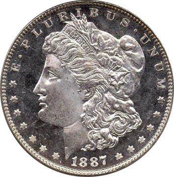15: 3 BRILLIANT UNCIRCULLATED 1887 MORGAN SILVER DOLLAR