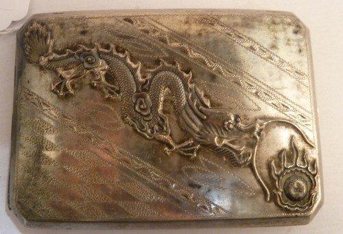 9: VINTAGE CHINESE STERLING CIGARETTE BOX W/DRAGON