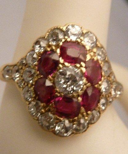 20: ANTIQUE RUBY & DIAMOND RING