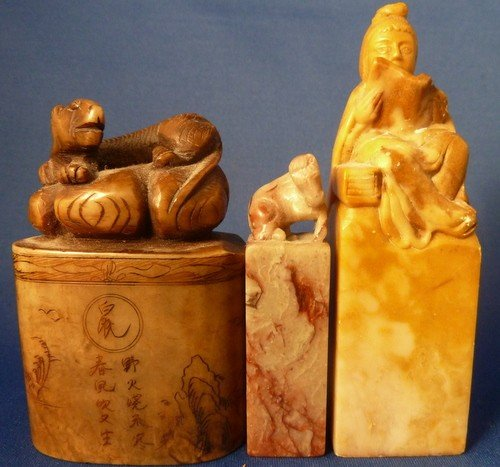 5: THREE ANTIQUE CARVED SOAPSTONE STAMP