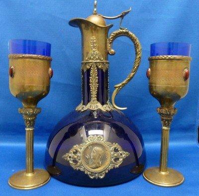315: ANTIQUE COBALT AND COPPER CEREMONIAL WINE SET