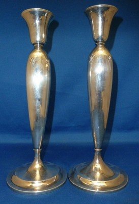 311B: PAIR OF LARGE STERLING WEIGHTED CANDLESTICKS