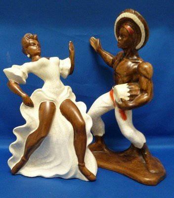 16: PAIR OF CALYPSO DANCERS IN TERRACOTTA