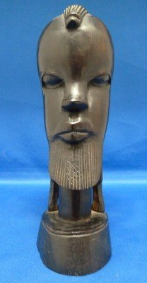1: HAND CARVED EBONY AFRICAN MAN & WOMAN