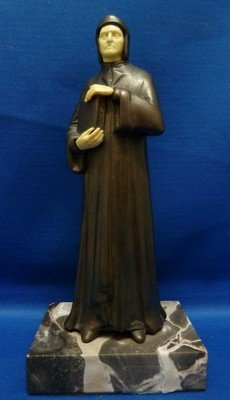 2: DECO BRONZE MONK FIGURINE CELLULOID FACE AND HANDS