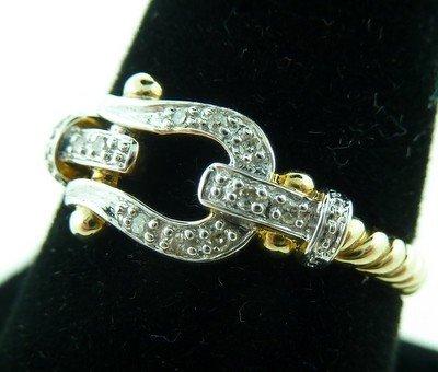 21: LADIES GOLD & DIAMOND BUCKLE RING