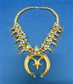 81: RARE 14KT GOLD SQUASH BLOSSOM NECKLACE