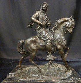 350: LARGE BRONZE OF MOROCCAN FIGHTER ON HORSE SIGNED