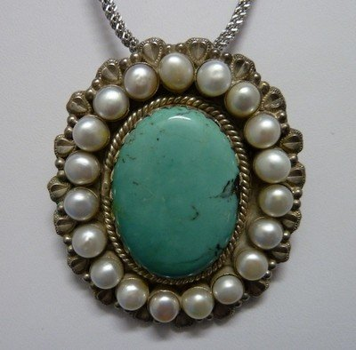308: TURQUOISE STERLING PEARL PENDANT