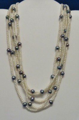 305: FIVE STRAND PEARL & GREY CULTURED PEARL NECKLACE
