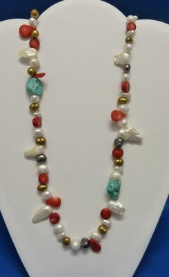311: PEARL TURQUOISE CORAL LARIAT