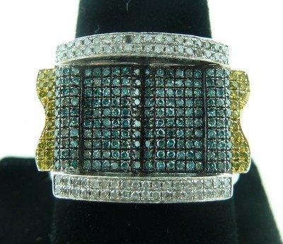 320: MAN'S WHITE YELLOW & BLUE DIAMOND RING