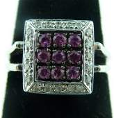 409: DIAMOND & PINK SAPPHIRE LADIES RING