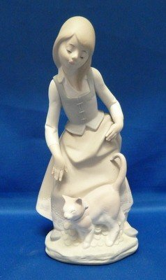 7: LLADRO GIRL WITH CAT MATTE FINISH #1187