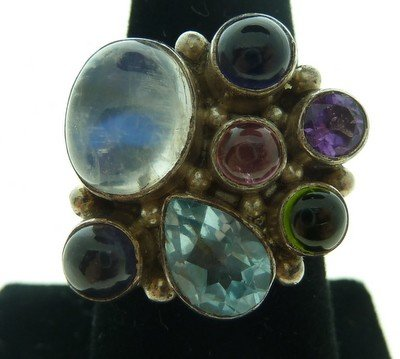 16: MULTI GEMSTONE AND STERLING RING